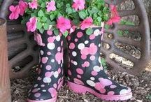 Spring Flowers - Boot & Polka Dotted Planters (Cute!)