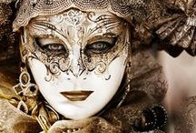 """Masquerade / """"Venetian masks are a 700-year- old tradition originating from the balls held in the Italian city of Venice. Made in many strange designs and elaborately decorated – the doll-like masks protected the wearers' anonymity – luring the revellers into nights of decadence and debauchery."""" Jameela Oberman"""