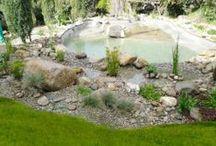 estanque en girona  / Sobre una antigua piscina se construye un gran estanque. La antigua piscina recogerá agua de lluvia que se reutilizará para riego. Los alrededores del estanque se parquizan como jardín de bajo consumo de agua, con riego por goteo, y malla antihierbas.