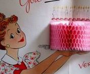 Birthday nostalgia / Everything vintage birthday: cards,paper, decorations,cake and more!
