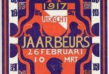 Jaarbeurs Utrecht / Jaarbeurs Utrecht design; posters en andere reclame-uitingen. De eerste Utrechtse Jaarbeurs werd gehouden in 1917, op initiatief van de Utrechtse vestiging van de Vereeniging Nederlandsch Fabricaat, in de voormalige Fruithal en Korenbeurs op het Vredenburg, en op het Janskerkhof.  / by Caroline