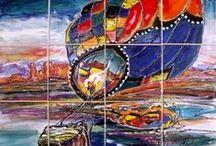Hand Painted Tile Murals / Hand painted tile murals for kitchen back splash, bath, and patios.