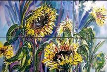 Sunflower and Floral Tile Murals / Flowers make wonderful hand painted tile subject matter for a kitchen back splash or outdoor patio art.