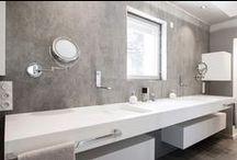 Salle de bains / Réalisations en résine de synthèse V-korr dans l'univers de la salle de bains : vasques / plans vasques / baignoires / receveurs de douche / habillages / éclairages ...