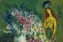"Mᗩrc Cᕼᗩgᗩll ♥ / Marc Zakharovich Chagall (6 July 1887 - 28 March 1985) was a Russian-French artist. Art critic Robert Hughes referred to Chagall as ""the quintessential Jewish artist of the twentieth century"" (though Chagall saw his work as 'not the dream of one people but of all humanity'). An early modernist, he was associated with several major artistic styles and created works in virtually every artistic medium, including painting, book illustrations, stained glass, stage sets, ceramic, etc."