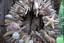 beach art: driftwoods,shells & seaglass
