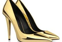 shoes gold heels