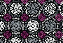 Inspiration: Canterberry Magenta / Graphic designs in shades of gray, black, white and regal deep magenta compose this Celtic-influenced print. The lining sports tiled trefoils in deep magenta and white on black. Shop Canterberry Magenta at www.verabradley.com.  / by Vera Bradley