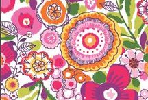 Inspiration: Clementine / A floral profusion of fruity pinks, reds, yellows and greens come together in a free-spirited watercolor that sings happy! A complementary ikat lining adds a global dimension. Shop Clementine at www.verabradley.com / by Vera Bradley