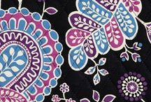 Inspiration: Alpine Floral / An alpine fairytale in icy shades of blueberry, raspberry and balckberry purple on a black ground.  / by Vera Bradley