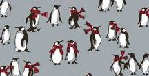 Pattern: Playful Penguins Gray