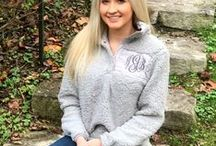 Monogram Sherpa Pullover Sweatshirts / Our monogram sherpa pullover jackets are offered in different colors and sizes adult small-3x during the fall and winter months. Fall outfit inspiration.