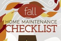 Fall Home Maintenance / A collection of our favorite #fall home maintenance check-lists or #winterizing tips, including some lists specific to regions of the country. Midwest maintenance tips, Southern California maintenance tips, Florida maintenance tips and Southern fall maintenance tips.
