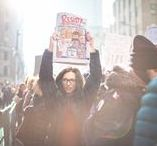 Women's March / Thousands of people march along 42nd Street during the Women's March on NYC on Jan. 21, 2017, in Manhattan. Organizers of the Women's March on NYC estimated that some 600,000 people attended.