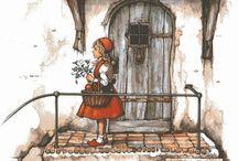 """Anton Pieck... """"De Efteling"""" / Een zeer bekende Nederlandse illustrator. Met zijn zeer herkenbare, romantische stijl tekende hij het leven van alledag. Hij heeft o.a. meegewerkt aan het sprookjespark De Efteling."""