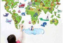 Pegatinas pared y vinilos decorativos mapa mundi. / En este tablero le mostramos todas nuestras pegatinas de mapas. Muy interesante opción para decorar ciertos espacios.