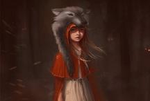 CONTE CHAPERON ROUGE Le petit chaperon rouge porte un panier, et une cape avec une capuche rouge ! / by Roxane Martiniere