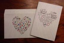 zelfgemaakte kaarten en enveloppen