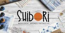 Natural Indigo dying. Shibori pattern design