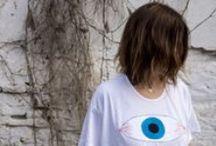 Ojos / Eyes / Camisetas y accesorios bordados a mano con la máquina de coser.