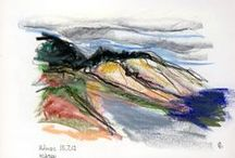 Crayon, Aquarelle, and other color media / Lessons by different colored Drawings