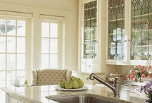 Kitchen Inspiration / We offer leaded glass and a wide variety of clear texture glass for your kitchen cabinets! www.phoenixstudio.com
