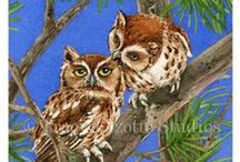 Owl Tree Collection / My Owl Tree Collection is made up of nine different owl families in a Pine Tree painted in watercolors.