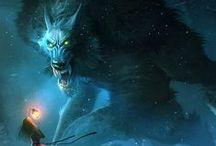monde fantasy créature / creature fantasy créature de légende: pégases, licornes, satyre...