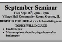 Free real estate Seminars in Gurnee, IL / Welcome to the KR Home Listings Team Seminars! Visit www.krhomelistings.com for up to date free home loan seminars hosted by Karin Robison and KR Home Listings