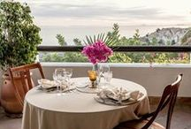 """Dinner & Special Events / We can organise a lovely 3-4 course romantic dinner on the """"Mirador"""" Terrace. While being served creative Spanish fusion dishes freshly prepared using local produce you can enjoy the sun setting on the terrace."""