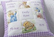 Tuppenny House Memory Cushions® / Our Memory Cushions make a great gift to commemorate the birth of a new baby.  Personalise the five patches of this handmade cushions with all the special details.  Choose from our range of designs.  Memory Cushion® - Registered Design and Trade Mark