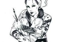 Girl Tattoo Blak Art