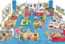 Thema: Weer naar school / Lesideeën voor taal, rekenen, schrijven, knutselen, tekenen/kleuren, muziek, filmpjes, drama en dans voor de onderbouw (groep1 t/m 3).  / by Claudia Zwiers-Jongepier