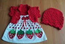 vestidos tejidos a 2 agujas y crochet