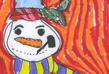 Winter Holiday Snowman Art / Artwork done by students at Thrive Art School ages 5-8. Please visit our campaign: http://thriveart.com/ks