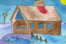 Winter Barn Landscape Art / Winter Barn Scene Art by Students at Thrive Art School. Ages 5-8.  Please visit our campaign: http://thriveart.com/ks