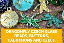 Dragonfly Picasso Coin Table Cut Czech Glass Beads / Here you can find popular Czech glass dragonfly beads. Follow this board for new dragonfly bead designs!  || www.CzechBeadsExclusive.com/+dragonfly
