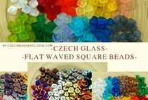 Square Czech Glass Beads / Here you can find Czech glass square beads, flat, puffed and so one. Follow this board if you are interested in square beads! || www.CzechBeadsExclusive.com/+square