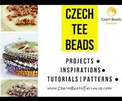 "Tee Czech Glass Beads: Tutorials, Patterns, Inspirations / We are very happy to introduce you new Czech glass bead shape – Tee beads – in a shape of the letter ""T""!  The strung beads closely interlock and create an interesting zip effect. It is a suitable supplement for seed bead embroidery, but it can also be used for various types of stringing, sewing techniques, crocheting and kumihimo.  