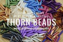 Thorn Czech Glass Beads: Tutorials, Patterns, Inspiration / Czech Glass Thorn Beads are clear thorn-shaped beads in slim, elongated form with a color or color combination that creates more detailed and interesting look when the colors are viewed through the clear side of the bead. It adds depth and gives each bead a different look depending on which angle the bead is viewed from. The new Thorn shape gives handcrafters more options in creating unusual designs to generate excitement and interest.  || www.CzechBeadsExclusive.com/+thorn