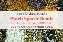 Pinch Spacer Czech Glass Beads: Tutorials, Patterns, Inspirations / We are glad to offer you our new arrivals of the best Czech Glass Pinch Spacer Beads. Unique shape and rare finishes gives you a lot of design possibilities never before being thought possible! Just imagine, how many adorable bead jewelry you can make. These smooth glass beads come in many fantastic colors with different top covers: Tweedy finish, Capri Gold Finish, Metallic finish, Picasso finish, Aurora Borealis, and much more.