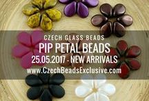 Pip Petal Flower Czech Glass Beads: Tutorials, Patterns, Inspirations / These innovative Czech Glass Pip Petal Beads feature a unique shape. Their petal-shaped edges work well in seed bead embroidery and weaving. They fill in gaps nicely, join up well and create floral patterns in designs. Because of their uniformity, Pip Petal Beads can be used in any type of your handmade jewelry.