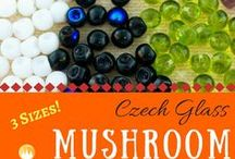 Mushroom Button Czech Glass Beads / Mushroom Button Czech Glass Beads
