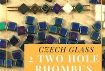 Rhombus Silky 2 Hole Czech Glass Beads / Rhombus Silky 2 Hole Czech Glass Beads