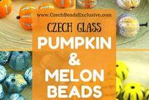 Pumpkin and Melon Czech Glass Beads / Pumpkin and Melon Czech Glass Beads