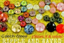 Ripple and Waved Disc Disk Czech Glass Beads / Ripple and Waved Disc Disk Czech Glass Beads