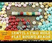 Lentil 2 Two Hole Czech Glass Beads / Lentil 2 Two Hole Czech Glass Beads