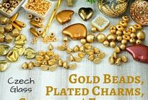 Gold Czech Glass Beads, Plated Charms, Settings And Findings / Gold Czech Glass Beads, Plated Charms, Settings And Findings