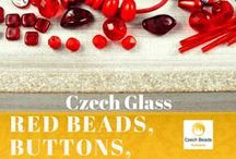 Red Czech Glass Beads, Buttons, Cords and Charms / Red Czech Glass Beads, Buttons, Cords and Charms