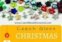 Star Christmas Czech Glass Beads, Buttons, Cabochons, Findings / Star Christmas Czech Glass Beads, Buttons, Cabochons, Findings